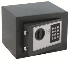 Seif electronic, 170x230x170 mm, cifru electronic + cheie, culoare gri