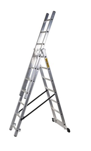 Aluminum professional ladder 3 section, rungs 7, 3×7 steps, max. 4.23 m