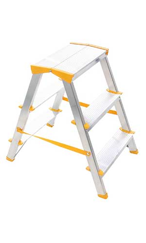 Aluminum double sided ladder 2×3 steps, height 0.6 m, made in EU