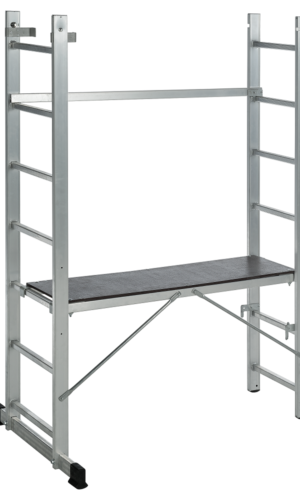 Scaffolding with platform and ladder, 2 x 8 steps, aluminum, 150 kG