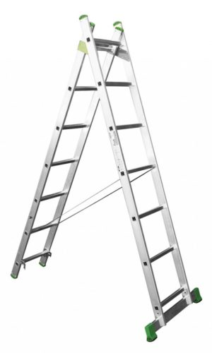 Aluminum professional ladder, 2 section, 6 rungs, 2×6 steps, length 3 m, made in EU