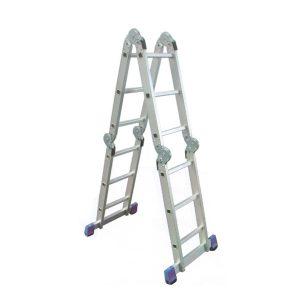 Scara Multifunctionala din Aluminiu articulata, 4×3 trepte + Platforma de lucru, inaltime 3.46, 14 trepte