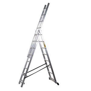 Scara aluminiu 3 tronsoane, 3×6 trepte, inaltime maxima de lucru 3.42 m, fabricata in UE