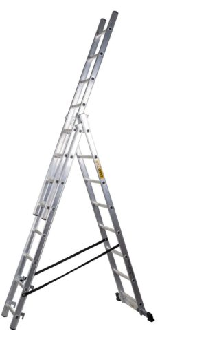 Aluminum ladder 3×15 foot, professional, length 10.8 m, manufactured in the EU